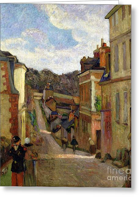 Gauguin; Paul (1848-1903) Paintings Greeting Cards - A Suburban Street Greeting Card by Paul Gauguin