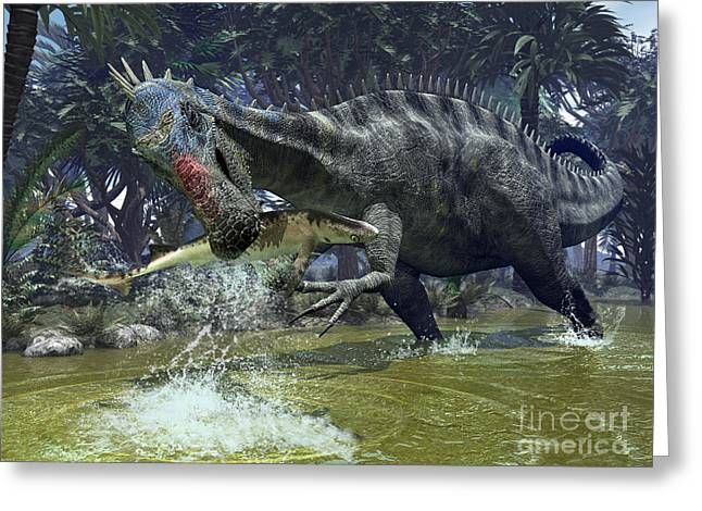 Creature Eating Greeting Cards - A Suchomimus Snags A Shark From A Lush Greeting Card by Walter Myers