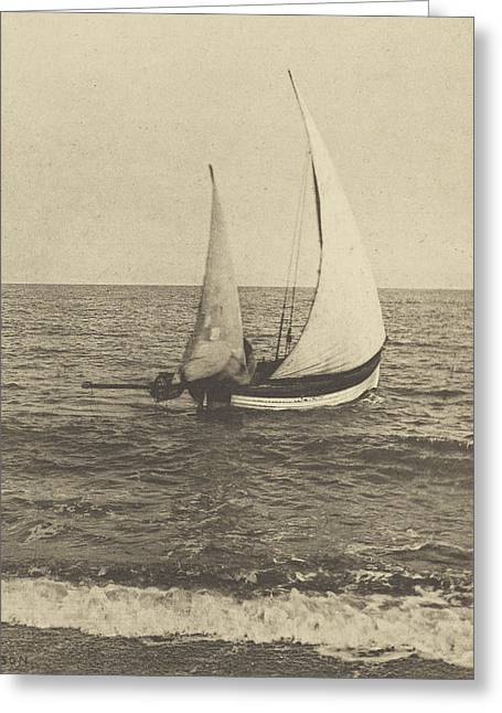 Photogravure Greeting Cards - A Suffolk Shrimper Going Off Greeting Card by Peter Henry Emerson