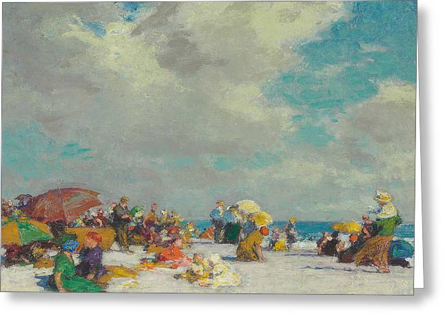 On The Beach Greeting Cards - A Summer Afternoon Greeting Card by Edward Henry Potthast