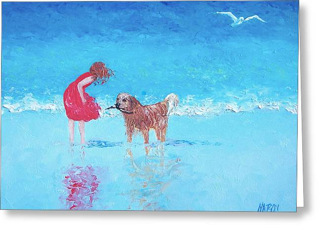 Dog Beach Print Greeting Cards - A Summer Breeze Greeting Card by Jan Matson