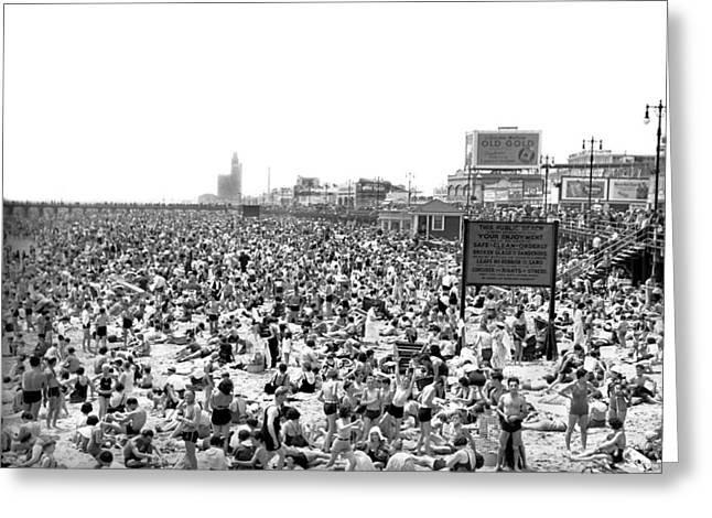 York Beach Greeting Cards - A Summer Day At Coney Island Greeting Card by Underwood Archives