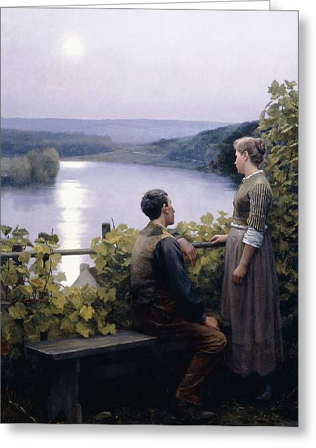 Reflections Of Sun In Water Greeting Cards - A Summer Evening Greeting Card by Daniel Ridgway Knight