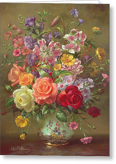 Ceramics Greeting Cards - A Summer Floral Arrangement Greeting Card by Albert Williams