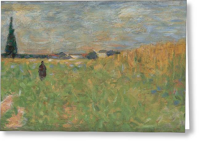 Outlook Paintings Greeting Cards - A Summer Landscape Greeting Card by Georges Seurat