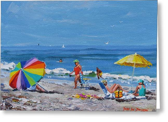 People On Beach Greeting Cards - A Summer Greeting Card by Laura Lee Zanghetti