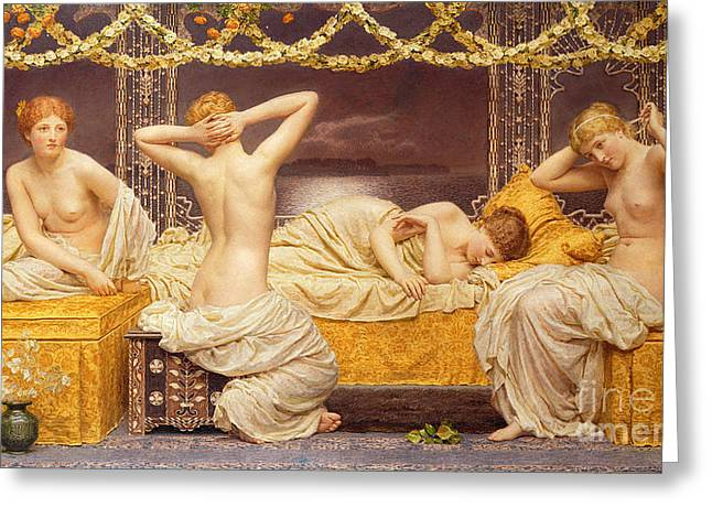 Female Body Paintings Greeting Cards - A Summer Night Greeting Card by Albert Joseph Moore