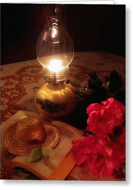 Night Lamp Greeting Cards - A Summer Night Journal Greeting Card by Christine Belanger