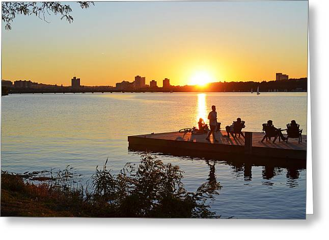 Charles River Greeting Cards - A summer sunset on the Charles River Greeting Card by Toby McGuire