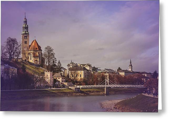 A Sunday Stroll In Salzburg Greeting Card by Carol Japp
