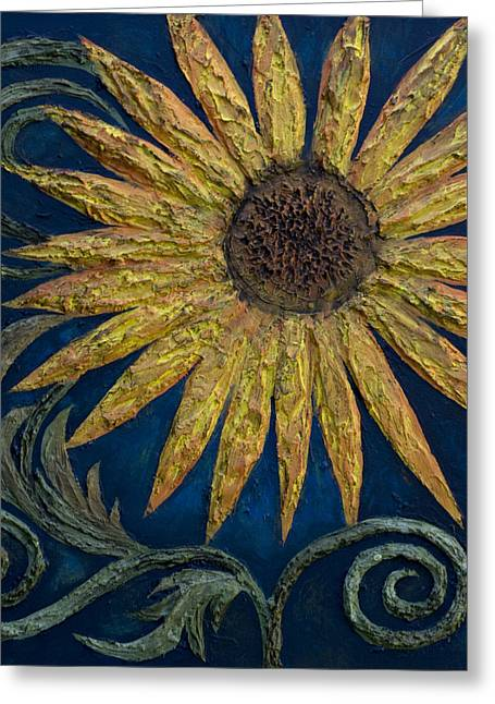 Sunflower Greeting Cards - A Sunflower Greeting Card by Kelly Jade King