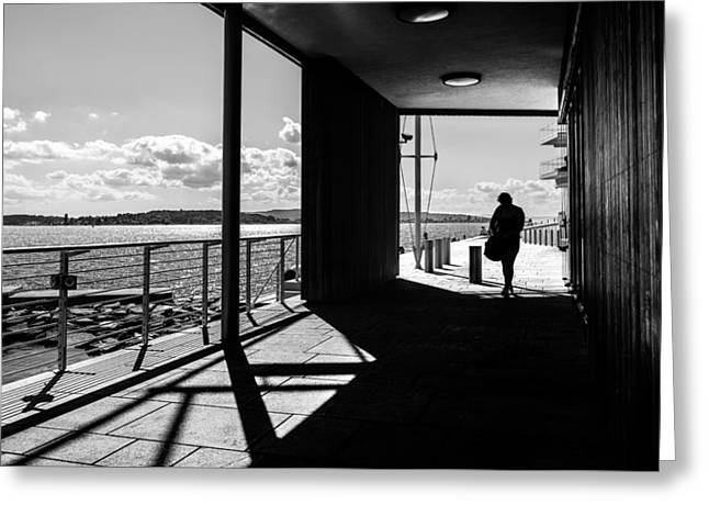 A Sunny Day - Oslo, Norway - Black And White Street Photography Greeting Card by Giuseppe Milo
