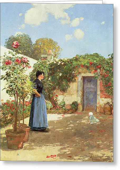 Sunlight On Pots Paintings Greeting Cards - A Sunny Morning Greeting Card by Childe Hassam