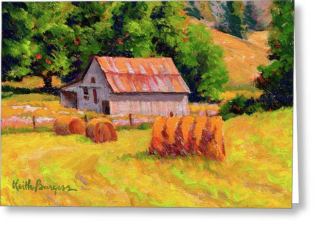 Shed Paintings Greeting Cards - A Sunny Morning Greeting Card by Keith Burgess
