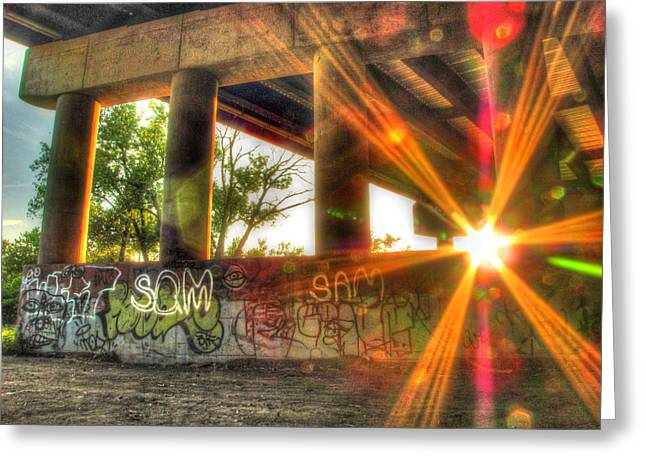 Sun Flare Greeting Cards - A Sunset From Under The Bridge Greeting Card by Jackie Novak
