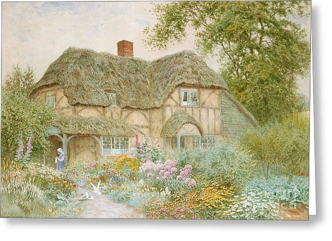 Country Greeting Cards - A Surrey Cottage Greeting Card by Arthur Claude Strachan