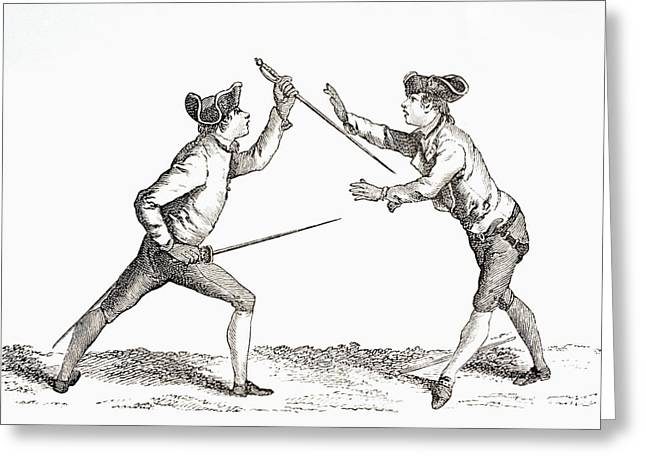 Opponent Greeting Cards - A Swordsman Disarms His Opponent And Is Greeting Card by Ken Welsh