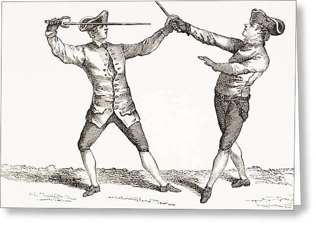 Opponent Greeting Cards - A Swordsman In Position To Thrust After Greeting Card by Ken Welsh
