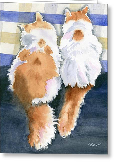 Cat Tail Greeting Cards - A Tail of Two Kitties Greeting Card by Marsha Elliott