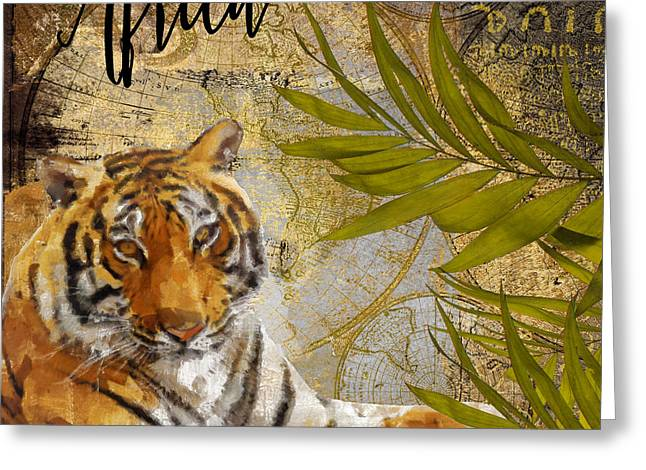 Preservation Greeting Cards - A Taste of Africa Tiger Greeting Card by Mindy Sommers