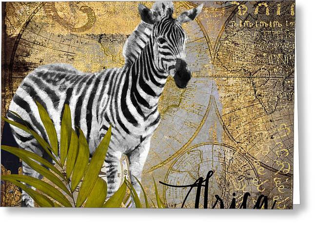 Zebra Greeting Cards - A Taste of Africa Zebra Greeting Card by Mindy Sommers