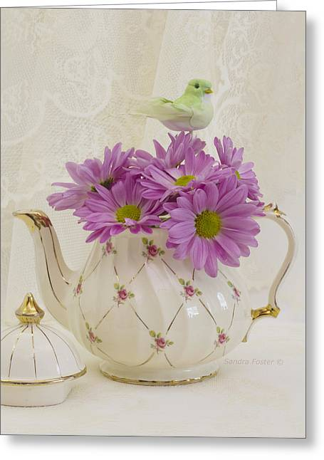 Interior Still Life Greeting Cards - A Tea Pot Of Pink Daisies Greeting Card by Sandra Foster