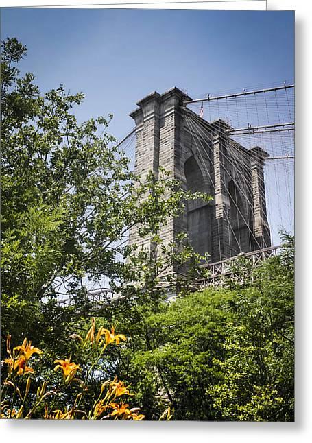 Famous Bridge Greeting Cards - A Tease of The Brooklyn Bridge  Greeting Card by Debra Forand
