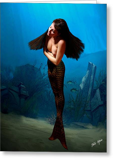 Tray Mead Greeting Cards - A Temple Mermaid Greeting Card by Tray Mead