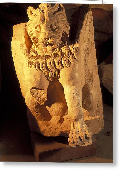 Jordan Art Greeting Cards - A Temple Winged Lion In The Petra Greeting Card by Richard Nowitz