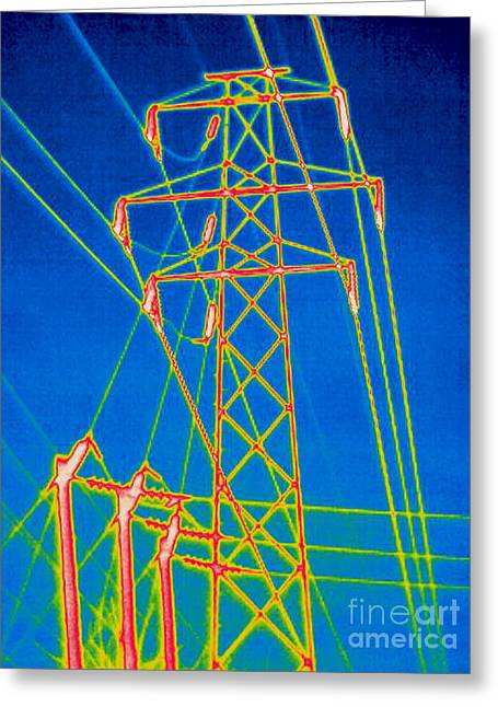 Volt Greeting Cards - A Thermogram Of High Voltage Power Lines Greeting Card by Ted Kinsman