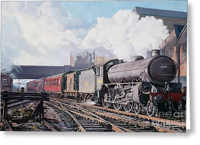 Train Bridges Greeting Cards - A Thompson B1 Class Moving Empty Stock on a Cold February Morning Greeting Card by David Nolan