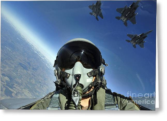 Attack Aircraft Greeting Cards - A Three-ship Formation Of F-15e Strike Greeting Card by Stocktrek Images