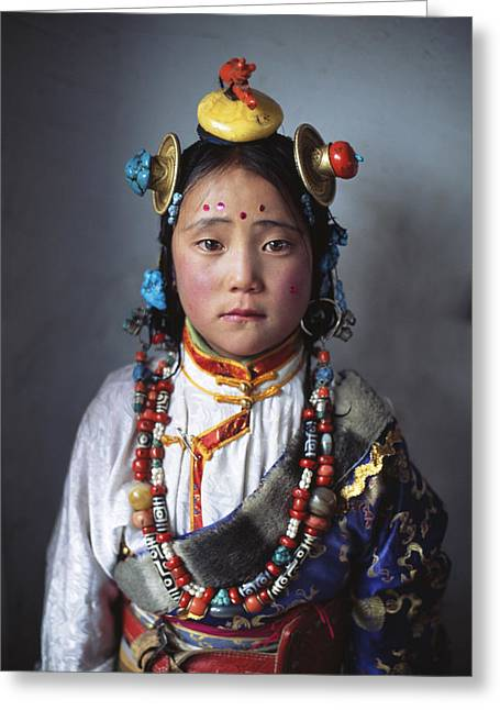 Kham Greeting Cards - A Tibetan Girl Dressed In Traditional Greeting Card by Alison Wright