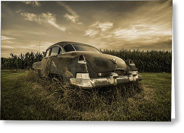 Cornfield Greeting Cards - A tinted photo of rusty caddy by a cornfield  Greeting Card by Sven Brogren