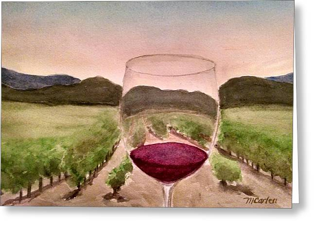 Grape Vineyard Greeting Cards - A Toast Among the Vineyard Greeting Card by M Carlen