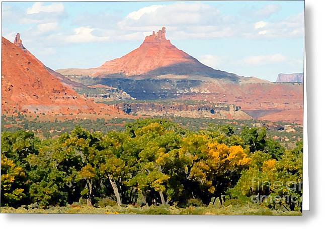 Western Digital Art Greeting Cards - A touch of fall Greeting Card by David Lee Thompson