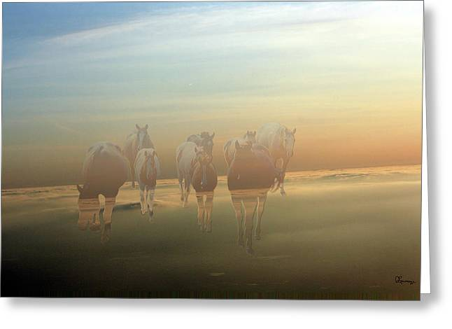 Quarter Horses Greeting Cards - A Touch of Horse Heaven Greeting Card by Andrea Lawrence