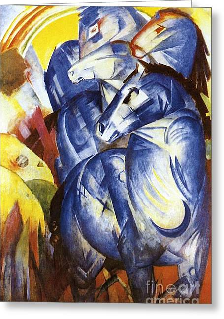 Expressionist Greeting Cards - A Tower of Blue Horses Greeting Card by Franz Marc