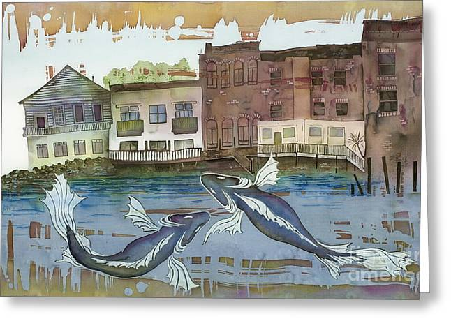Pacific Tapestries - Textiles Greeting Cards - A Town By The Sea Greeting Card by Carolyn Doe