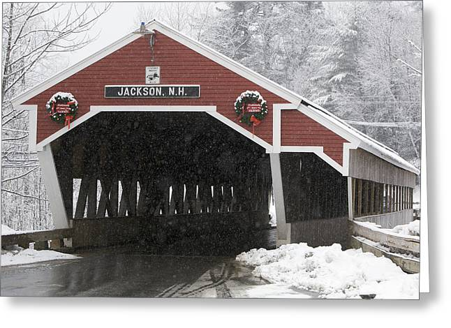 A Traditional Covered Bridge On A Snowy Greeting Card by Tim Laman