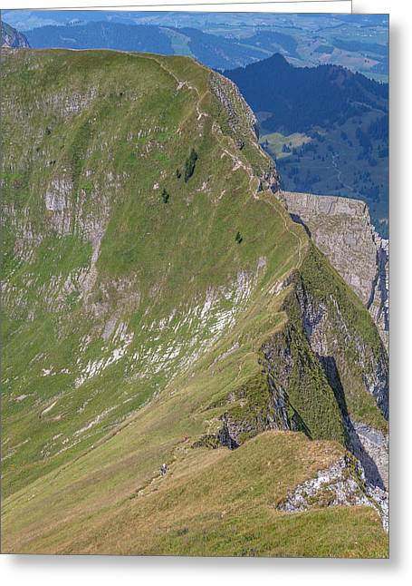 Swiss Photographs Greeting Cards - A Trail on the Edge Greeting Card by W Chris Fooshee