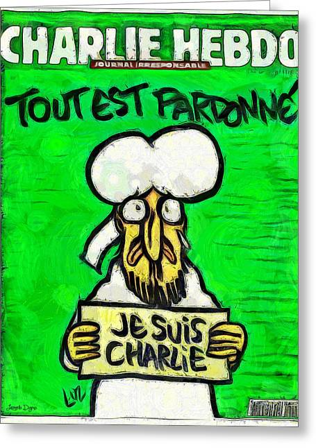 Terrorist Paintings Greeting Cards - A Tribute for Charlie Hebdo Greeting Card by Leonardo Digenio