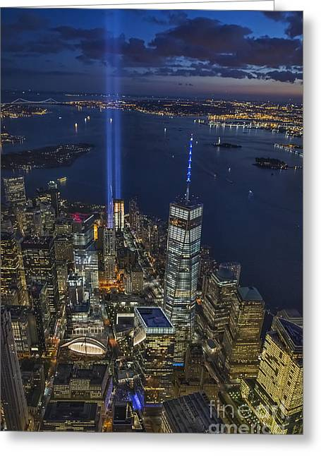 Wtc 11 Greeting Cards - A Tribute in Lights Greeting Card by Roman Kurywczak