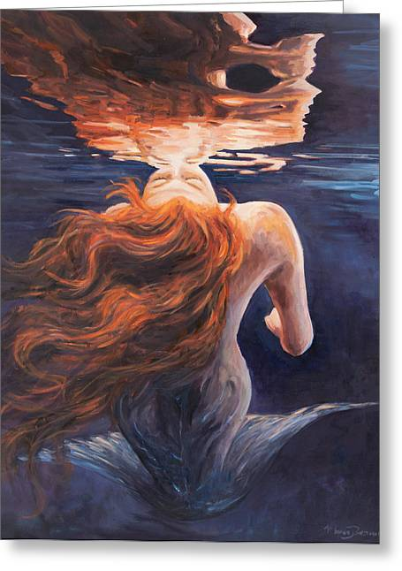 Red Hair Greeting Cards - A trick of the light - love is illusion Greeting Card by Marco Busoni