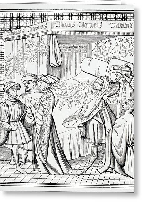 Medieval Style Greeting Cards - A Trimmed Canopy Bed With Curtains Greeting Card by Ken Welsh