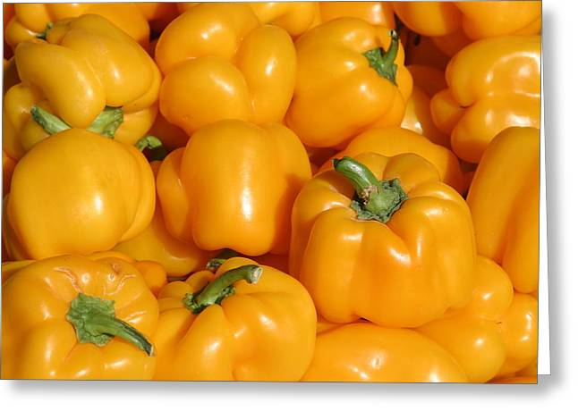 Michael Sweet Greeting Cards - A trip through the farmers market featuring Yellow Bell Peppers Greeting Card by Michael Ledray
