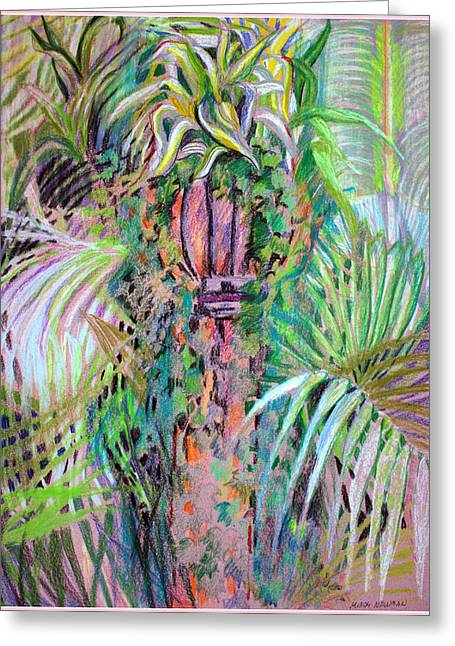 Lamp Post Mixed Media Greeting Cards - A Tropical Basket on a Post Greeting Card by Mindy Newman