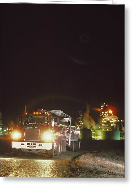 Road Travel Greeting Cards - A Trucker Traveling Down The Road Greeting Card by Kenneth Garrett