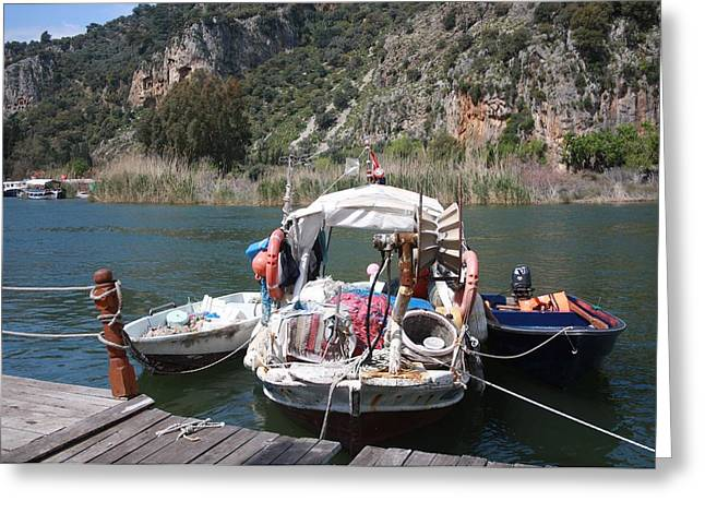 Morass Greeting Cards - A Turkish Fishing Boat on the Dalyan River Greeting Card by Tracey Harrington-Simpson
