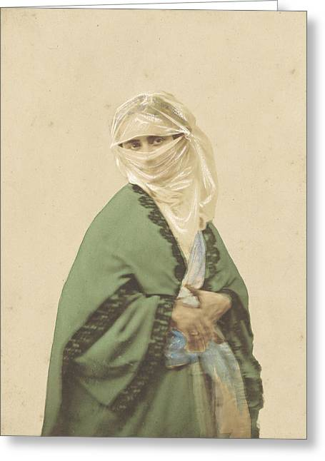 Woman In A Dress Greeting Cards - A Turkish Woman in Outdoor Dress Greeting Card by Celestial Images